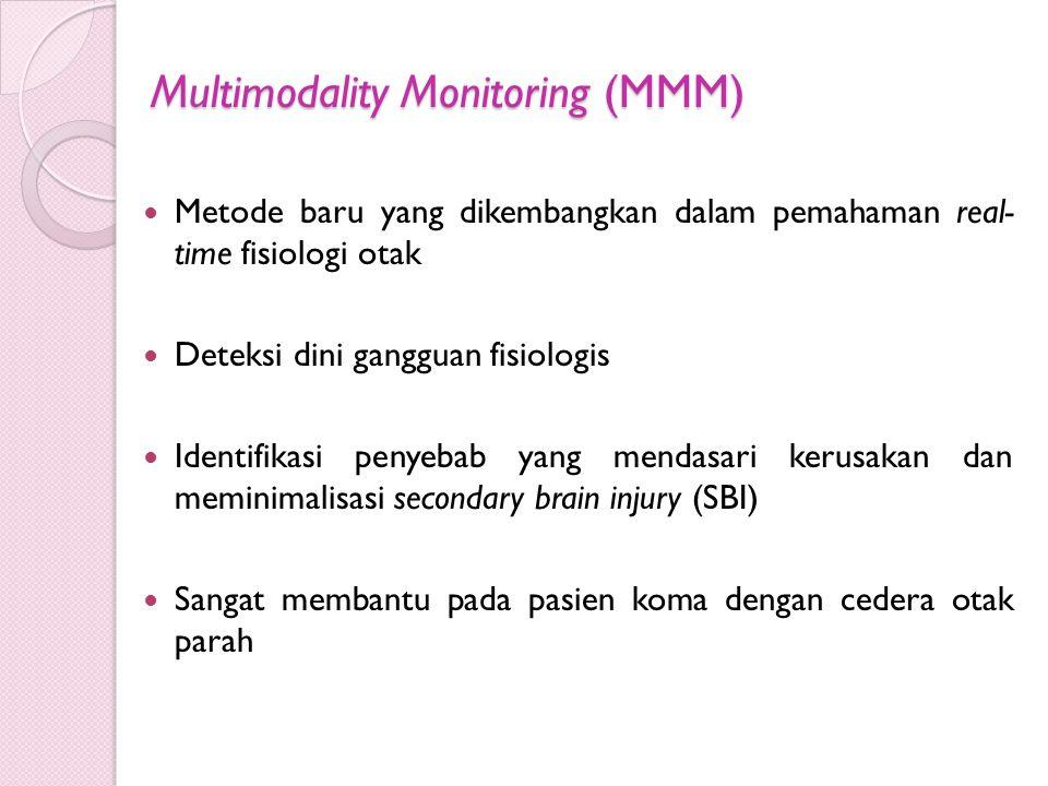 Multimodality Monitoring (MMM) Metode baru yang dikembangkan dalam pemahaman real- time fisiologi otak Deteksi dini gangguan fisiologis Identifikasi p