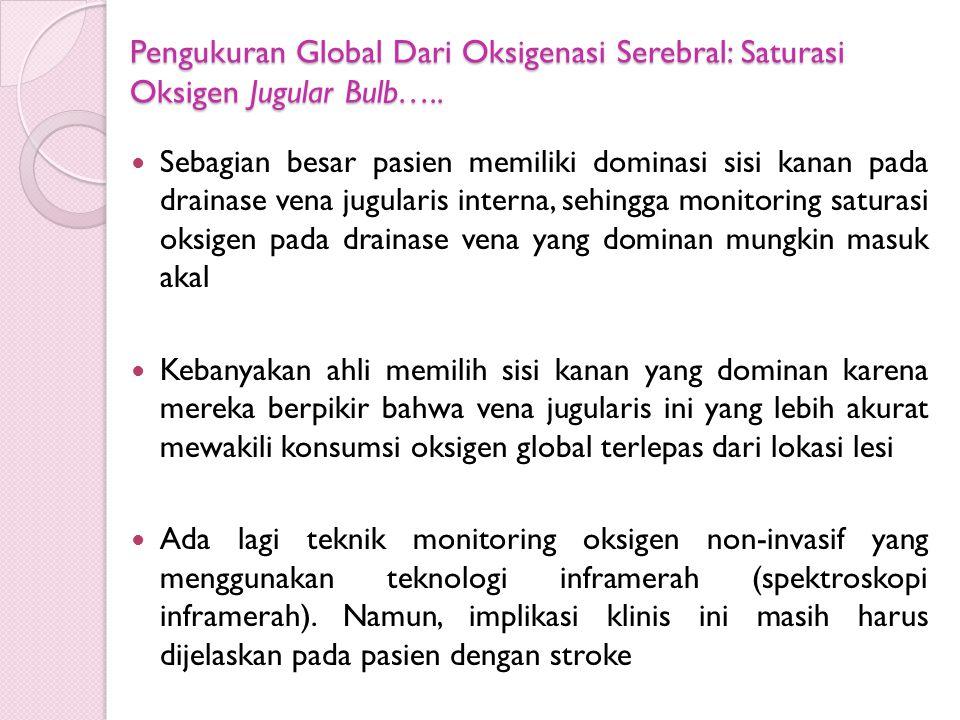Pengukuran Global Dari Oksigenasi Serebral: Saturasi Oksigen Jugular Bulb….. Sebagian besar pasien memiliki dominasi sisi kanan pada drainase vena jug