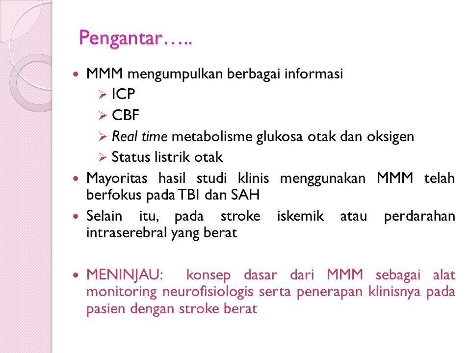 Pengantar….. MMM mengumpulkan berbagai informasi  ICP  CBF  Real time metabolisme glukosa otak dan oksigen  Status listrik otak Mayoritas hasil st
