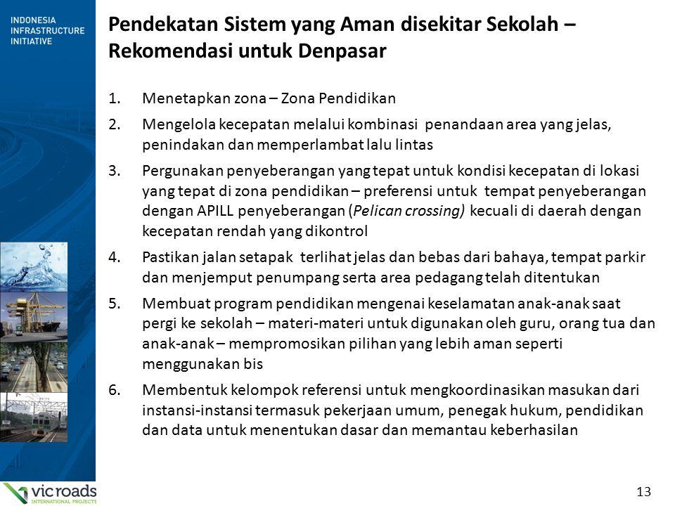 13 Pendekatan Sistem yang Aman disekitar Sekolah – Rekomendasi untuk Denpasar 1.Menetapkan zona – Zona Pendidikan 2.Mengelola kecepatan melalui kombin