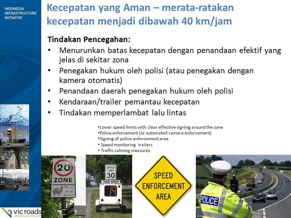 6 Kecepatan yang Aman – merata-ratakan kecepatan menjadi dibawah 40 km/jam Tindakan Pencegahan: Menurunkan batas kecepatan dengan penandaan efektif ya