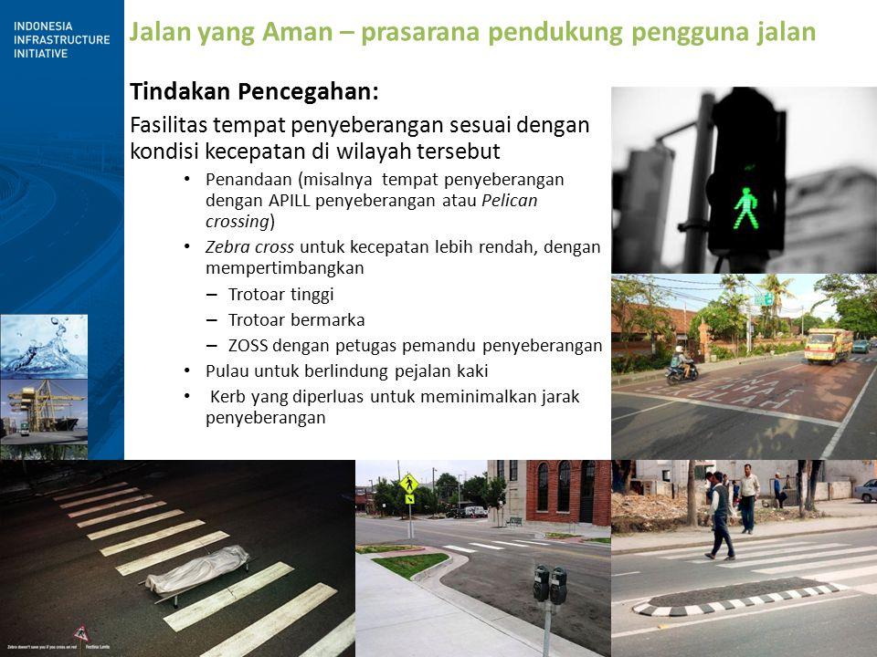 8 Jalan yang Aman – prasarana pendukung pengguna jalan Tindakan Pencegahan: Fasilitas tempat penyeberangan sesuai dengan kondisi kecepatan di wilayah