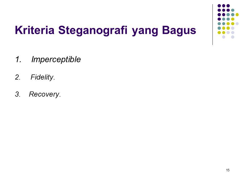 15 Kriteria Steganografi yang Bagus 1. Imperceptible 2. Fidelity. 3. Recovery.
