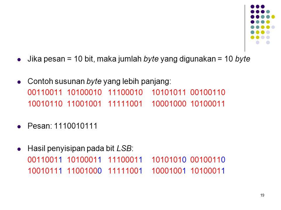 19 Jika pesan = 10 bit, maka jumlah byte yang digunakan = 10 byte Contoh susunan byte yang lebih panjang: 00110011 10100010 11100010 10101011 00100110 10010110 11001001 11111001 10001000 10100011 Pesan: 1110010111 Hasil penyisipan pada bit LSB: 00110011 10100011 11100011 10101010 00100110 10010111 11001000 11111001 10001001 10100011