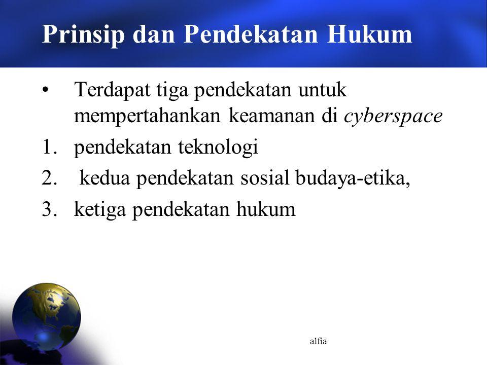 alfia Prinsip dan Pendekatan Hukum Terdapat tiga pendekatan untuk mempertahankan keamanan di cyberspace 1.pendekatan teknologi 2. kedua pendekatan sos