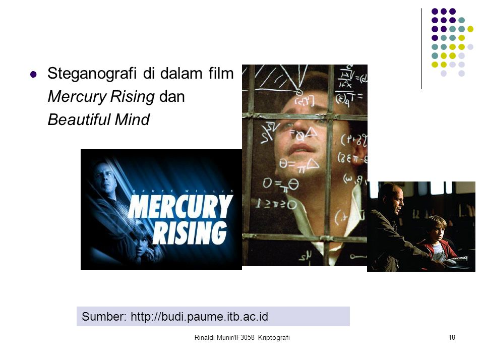 Rinaldi Munir/IF3058 Kriptografi18 Steganografi di dalam film Mercury Rising dan Beautiful Mind Sumber: http://budi.paume.itb.ac.id