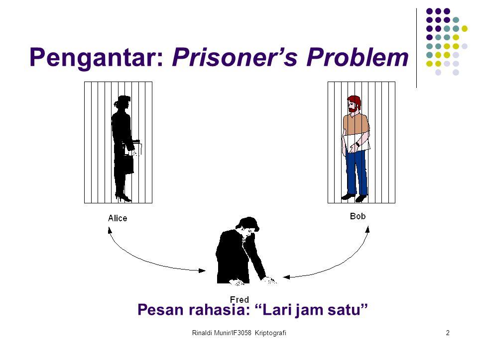 Rinaldi Munir/IF3058 Kriptografi2 Pengantar: Prisoner's Problem Pesan rahasia: Lari jam satu