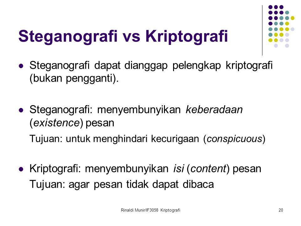 Rinaldi Munir/IF3058 Kriptografi20 Steganografi vs Kriptografi Steganografi dapat dianggap pelengkap kriptografi (bukan pengganti). Steganografi: meny