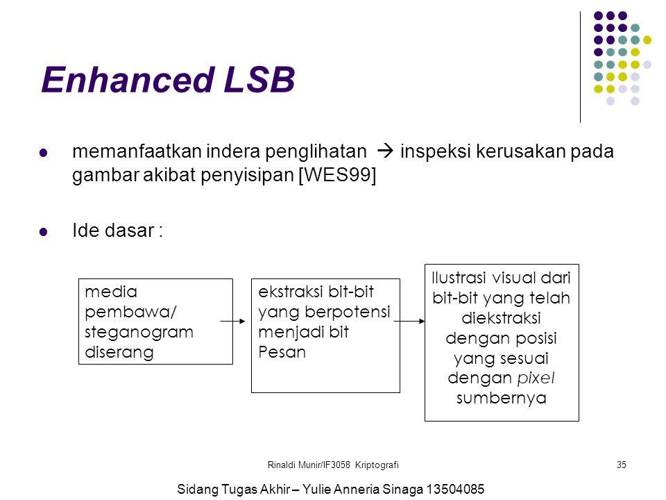 Rinaldi Munir/IF3058 Kriptografi35 Enhanced LSB memanfaatkan indera penglihatan  inspeksi kerusakan pada gambar akibat penyisipan [WES99] Ide dasar :