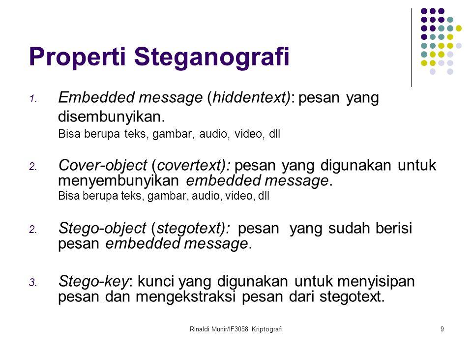 Rinaldi Munir/IF3058 Kriptografi9 Properti Steganografi 1.