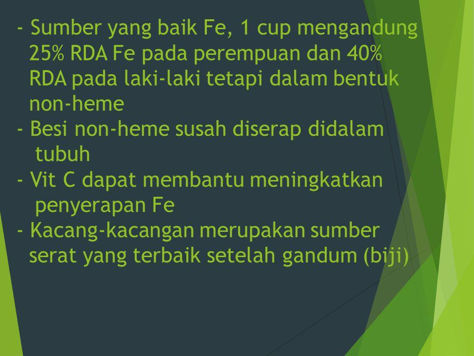 - Sumber yang baik Fe, 1 cup mengandung 25% RDA Fe pada perempuan dan 40% RDA pada laki-laki tetapi dalam bentuk non-heme - Besi non-heme susah disera