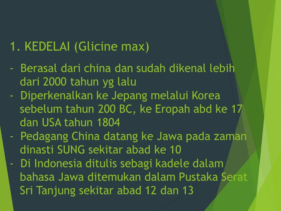 1. KEDELAI (Glicine max) - Berasal dari china dan sudah dikenal lebih dari 2000 tahun yg lalu - Diperkenalkan ke Jepang melalui Korea sebelum tahun 20