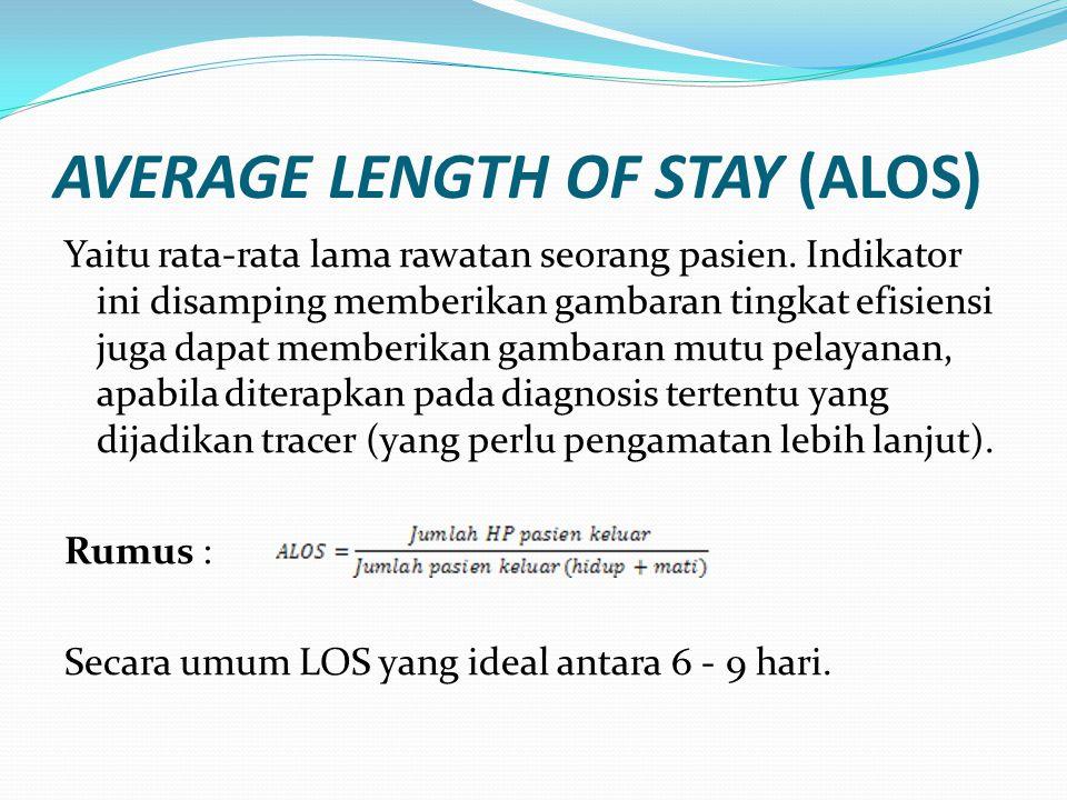 AVERAGE LENGTH OF STAY (ALOS) Yaitu rata-rata lama rawatan seorang pasien. Indikator ini disamping memberikan gambaran tingkat efisiensi juga dapat me