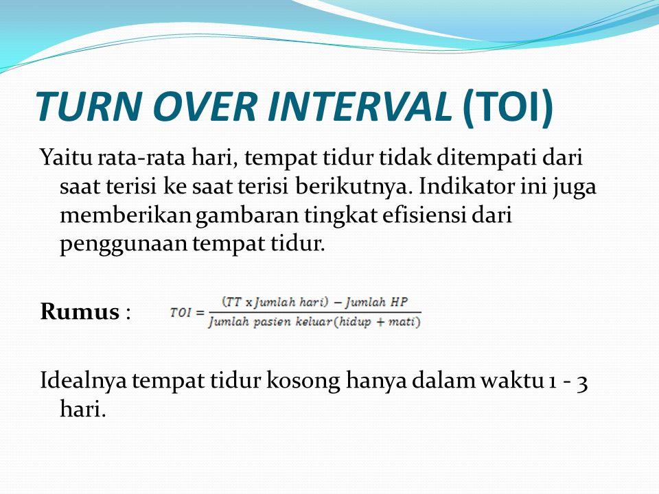 TURN OVER INTERVAL (TOI) Yaitu rata-rata hari, tempat tidur tidak ditempati dari saat terisi ke saat terisi berikutnya. Indikator ini juga memberikan