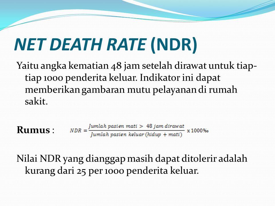 NET DEATH RATE (NDR) Yaitu angka kematian 48 jam setelah dirawat untuk tiap- tiap 1000 penderita keluar. Indikator ini dapat memberikan gambaran mutu