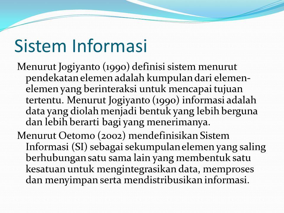 Sistem Informasi Menurut Jogiyanto (1990) definisi sistem menurut pendekatan elemen adalah kumpulan dari elemen- elemen yang berinteraksi untuk mencap