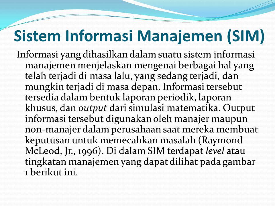 Sistem Informasi Manajemen (SIM) Informasi yang dihasilkan dalam suatu sistem informasi manajemen menjelaskan mengenai berbagai hal yang telah terjadi di masa lalu, yang sedang terjadi, dan mungkin terjadi di masa depan.