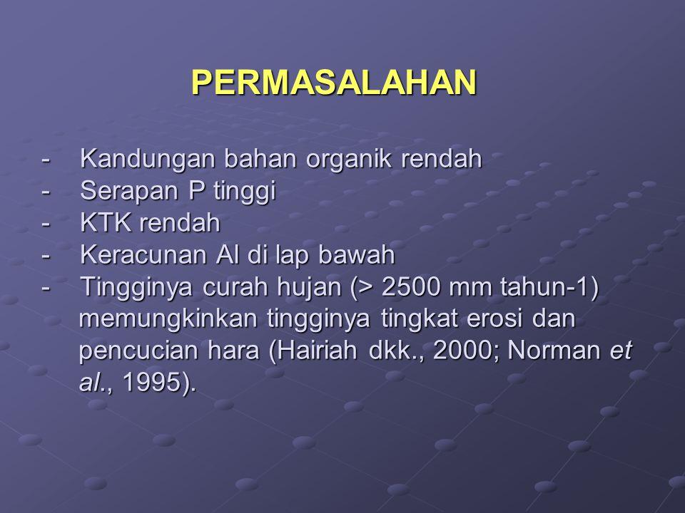 - K andungan bahan organik rendah - Serapan P tinggi - KTK rendah - Keracunan Al di lap bawah - Tingginya curah hujan (> 2500 mm tahun-1) memungkinkan tingginya tingkat erosi dan pencucian hara (Hairiah dkk., 2000; Norman et al., 1995).