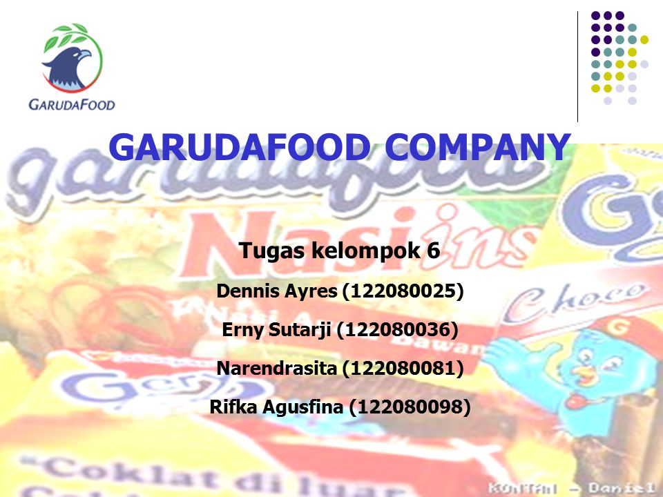 GARUDAFOOD COMPANY Tugas kelompok 6 Dennis Ayres (122080025) Erny Sutarji (122080036) Narendrasita (122080081) Rifka Agusfina (122080098)