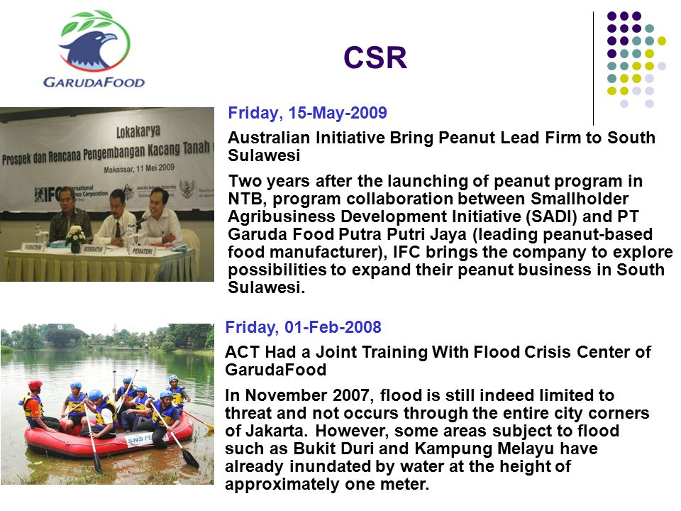CSR Friday, 15-May-2009 Australian Initiative Bring Peanut Lead Firm to South Sulawesi Two years after the launching of peanut program in NTB, program