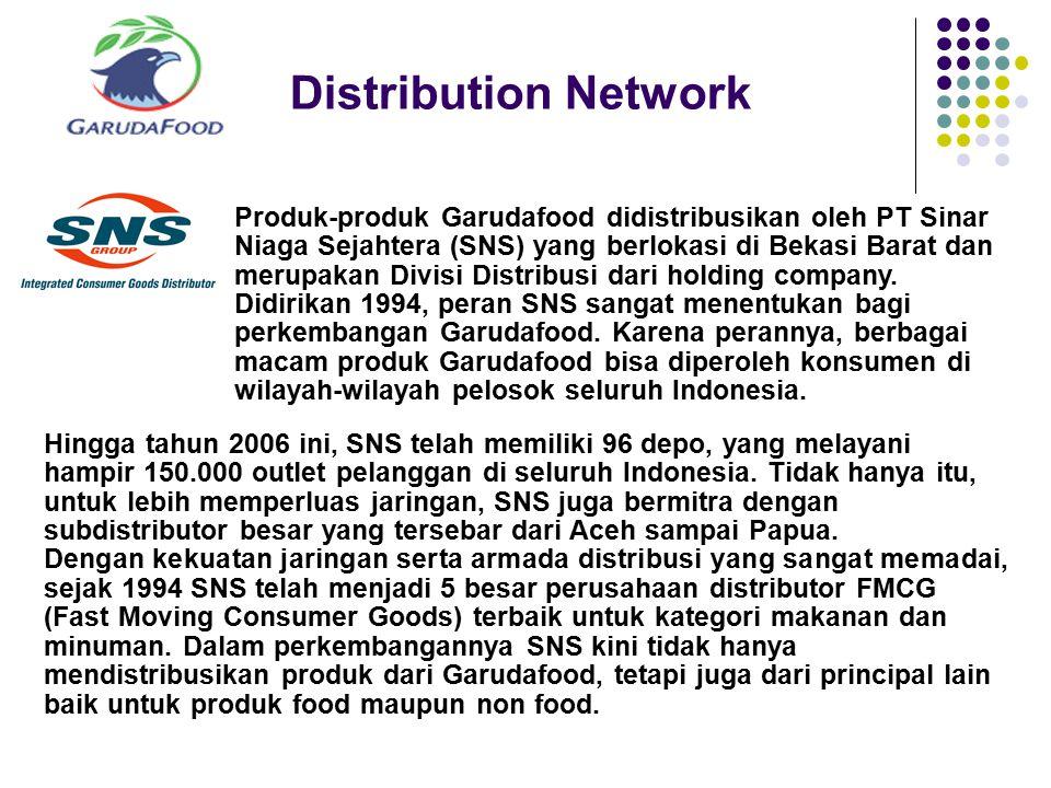 Distribution Network Produk-produk Garudafood didistribusikan oleh PT Sinar Niaga Sejahtera (SNS) yang berlokasi di Bekasi Barat dan merupakan Divisi