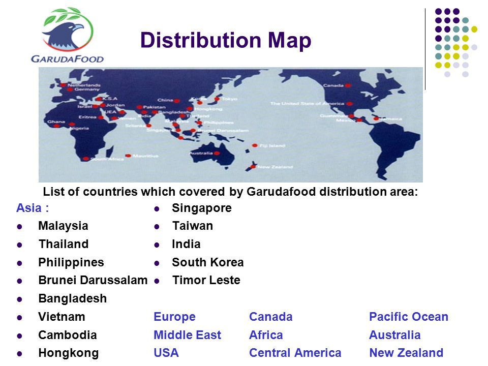 Distribution Map Asia : Malaysia Thailand Philippines Brunei Darussalam Bangladesh Vietnam Cambodia Hongkong Singapore Taiwan India South Korea Timor Leste EuropeCanadaPacific Ocean Middle EastAfricaAustralia USACentral AmericaNew Zealand List of countries which covered by Garudafood distribution area: