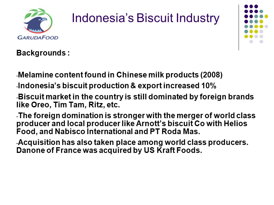 Indonesia's Biscuit Industry Backgrounds : - Melamine content found in Chinese milk products (2008) - Indonesia's biscuit production & export increase