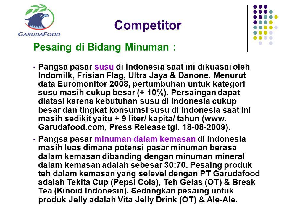 Competitor Pesaing di Bidang Minuman : Pangsa pasar susu di Indonesia saat ini dikuasai oleh Indomilk, Frisian Flag, Ultra Jaya & Danone. Menurut data