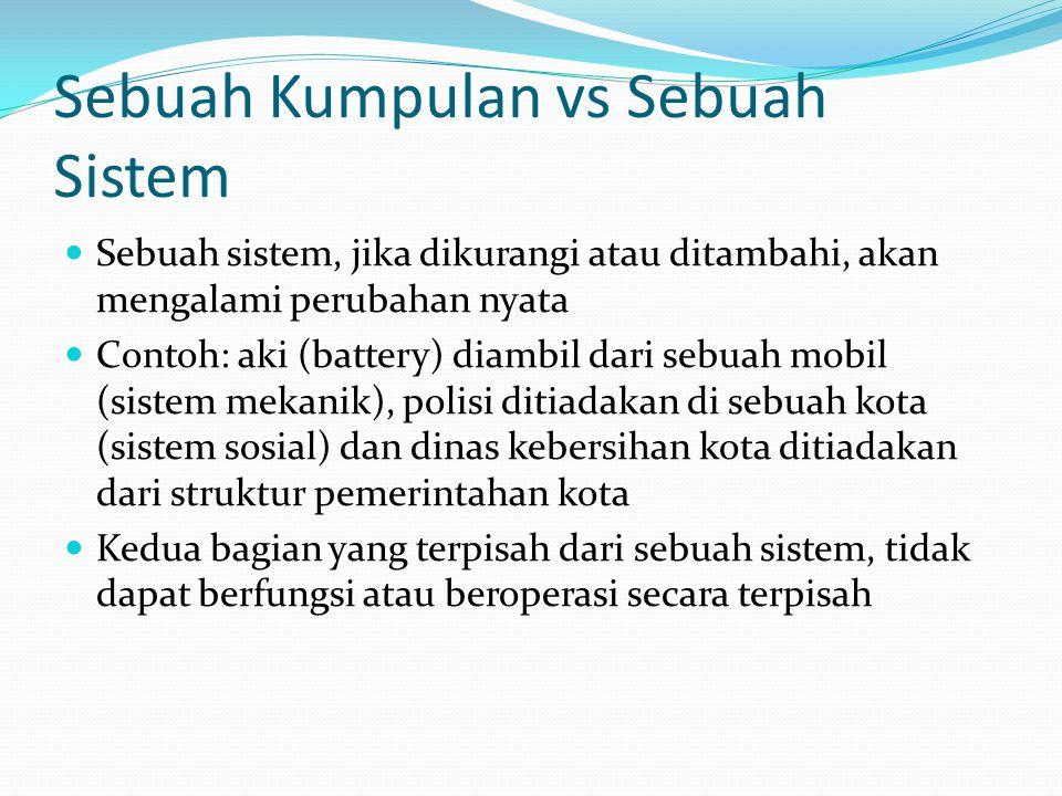 Sebuah Kumpulan vs Sebuah Sistem Sebuah kumpulan atau sebuah sistem sama-sama terdiri atas dua atau lebih bagian-bagian Sebuah kumpulan, jika dikurang