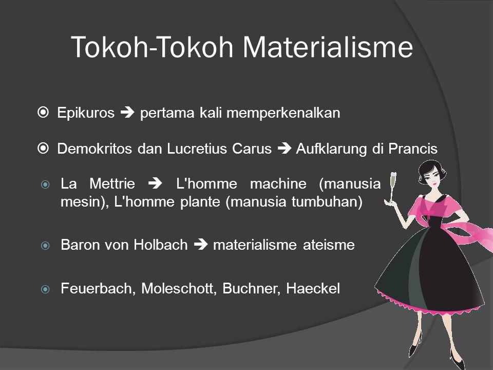 Tokoh-Tokoh Materialisme  La Mettrie  L homme machine (manusia mesin), L homme plante (manusia tumbuhan)  Baron von Holbach  materialisme ateisme  Feuerbach, Moleschott, Buchner, Haeckel  Epikuros  pertama kali memperkenalkan  Demokritos dan Lucretius Carus  Aufklarung di Prancis