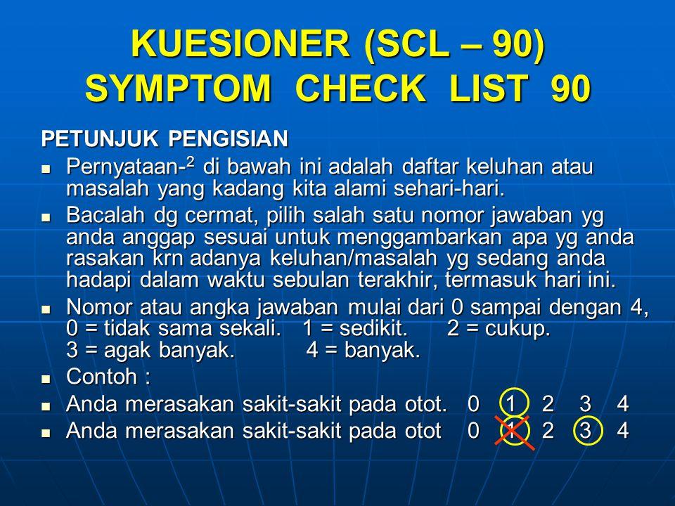 KUESIONER (SCL – 90) SYMPTOM CHECK LIST 90 PETUNJUK PENGISIAN Pernyataan- 2 di bawah ini adalah daftar keluhan atau masalah yang kadang kita alami sehari-hari.