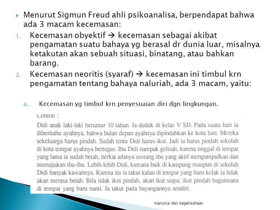  Menurut Sigmun Freud ahli psikoanalisa, berpendapat bahwa ada 3 macam kecemasan: 1.