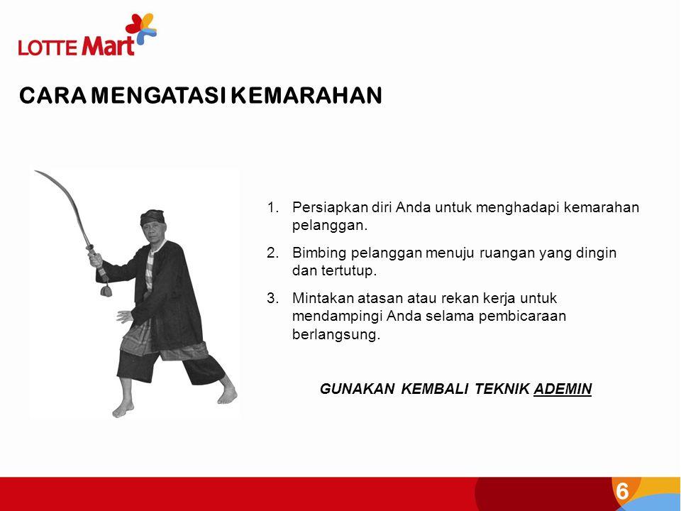 6 CARA MENGATASI KEMARAHAN 1.Persiapkan diri Anda untuk menghadapi kemarahan pelanggan. 2.Bimbing pelanggan menuju ruangan yang dingin dan tertutup. 3