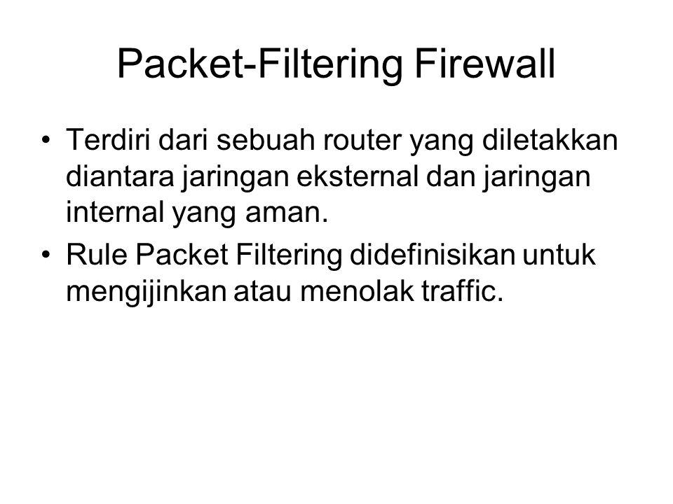 Packet-Filtering Firewall Terdiri dari sebuah router yang diletakkan diantara jaringan eksternal dan jaringan internal yang aman. Rule Packet Filterin