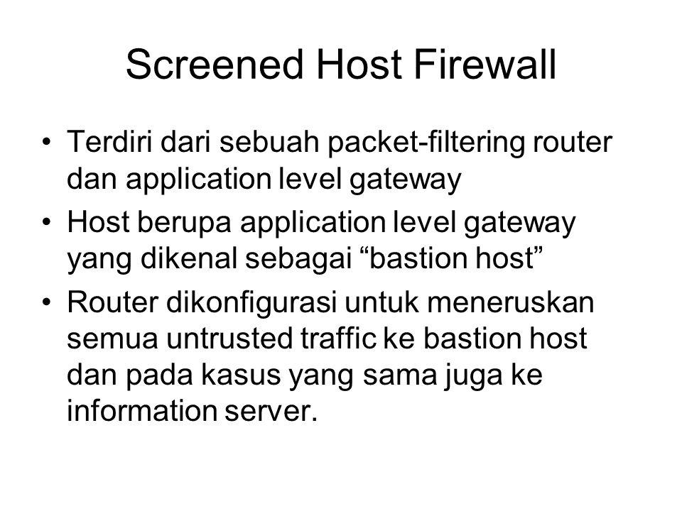 Screened Host Firewall Terdiri dari sebuah packet-filtering router dan application level gateway Host berupa application level gateway yang dikenal se