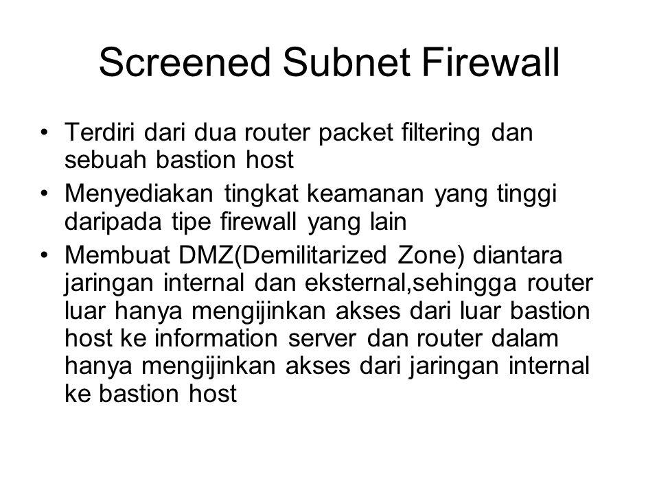 Screened Subnet Firewall Terdiri dari dua router packet filtering dan sebuah bastion host Menyediakan tingkat keamanan yang tinggi daripada tipe firew