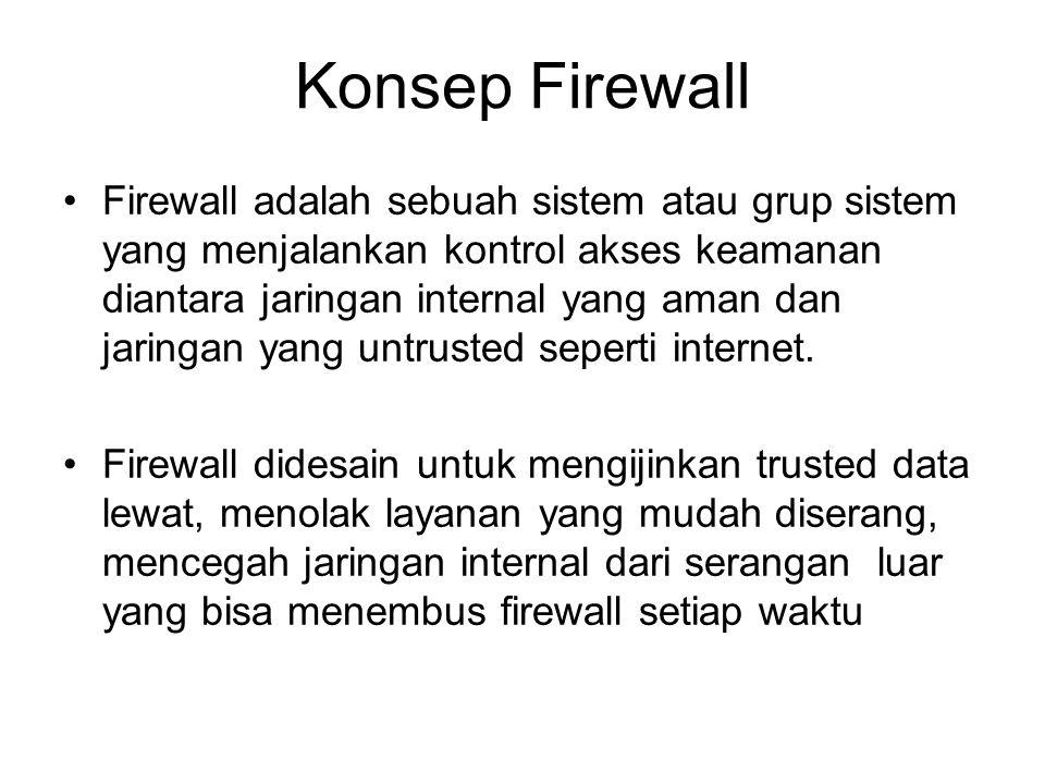 Konsep Firewall Firewall adalah sebuah sistem atau grup sistem yang menjalankan kontrol akses keamanan diantara jaringan internal yang aman dan jaring