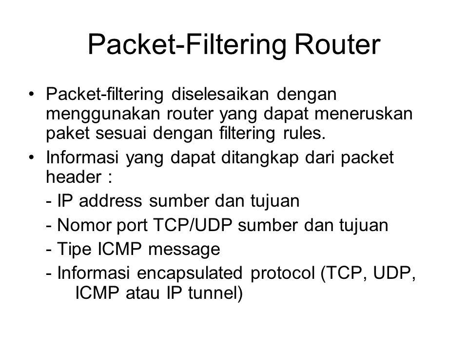 Packet-Filtering Router Packet-filtering diselesaikan dengan menggunakan router yang dapat meneruskan paket sesuai dengan filtering rules. Informasi y