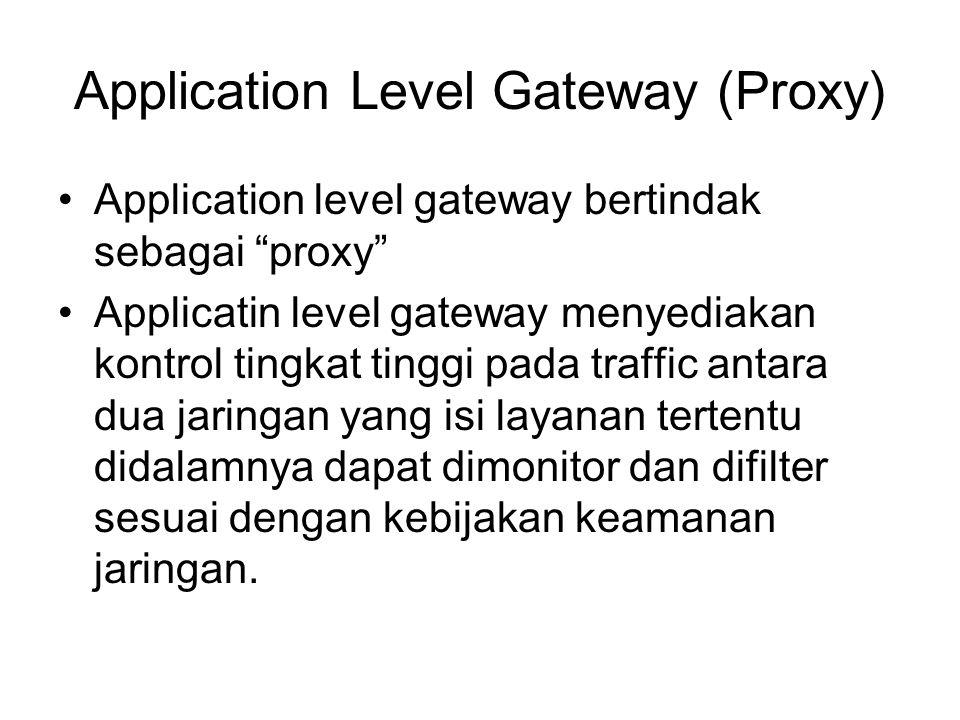 "Application Level Gateway (Proxy) Application level gateway bertindak sebagai ""proxy"" Applicatin level gateway menyediakan kontrol tingkat tinggi pada"