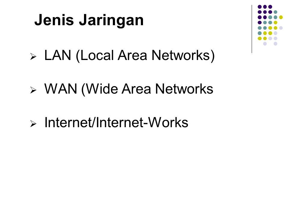  LAN (Local Area Networks)  WAN (Wide Area Networks  Internet/Internet-Works Jenis Jaringan