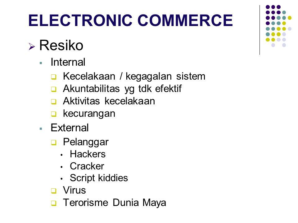  Resiko  Internal  Kecelakaan / kegagalan sistem  Akuntabilitas yg tdk efektif  Aktivitas kecelakaan  kecurangan  External  Pelanggar Hackers Cracker Script kiddies  Virus  Terorisme Dunia Maya ELECTRONIC COMMERCE