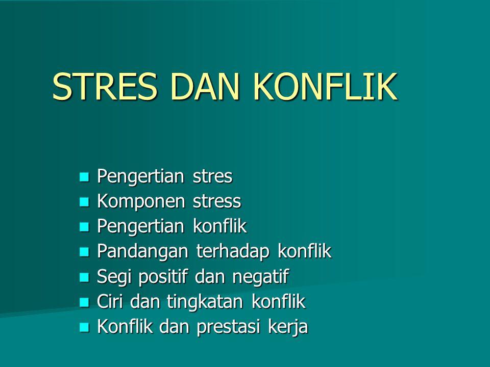 STRES DAN KONFLIK Pengertian stres Pengertian stres Komponen stress Komponen stress Pengertian konflik Pengertian konflik Pandangan terhadap konflik P