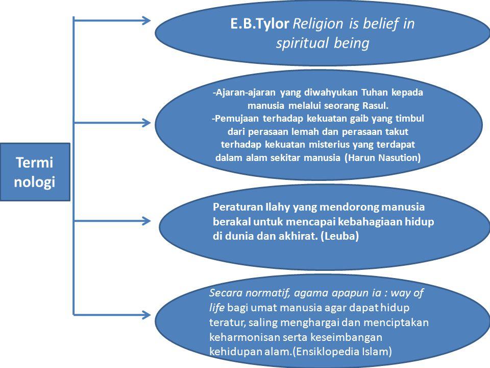 E.B.Tylor Religion is belief in spiritual being -Ajaran-ajaran yang diwahyukan Tuhan kepada manusia melalui seorang Rasul. -Pemujaan terhadap kekuatan