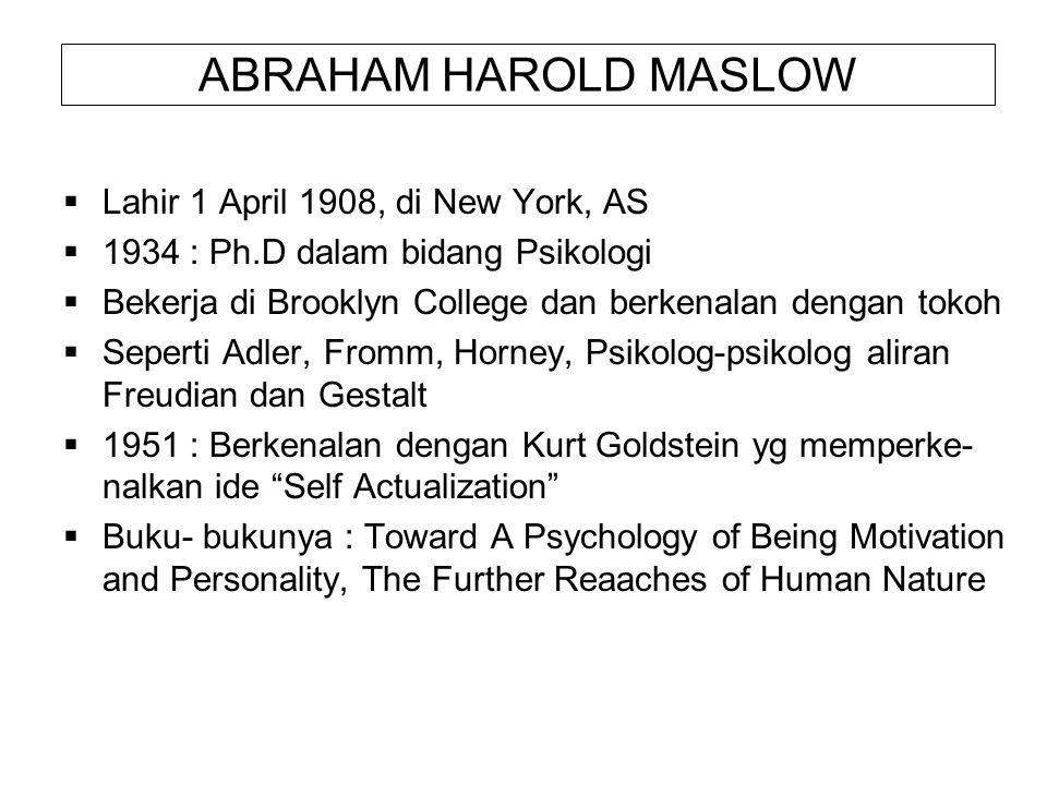 ABRAHAM HAROLD MASLOW  Lahir 1 April 1908, di New York, AS  1934 : Ph.D dalam bidang Psikologi  Bekerja di Brooklyn College dan berkenalan dengan t