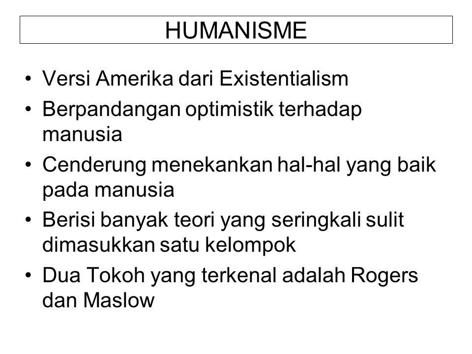 HUMANISME Versi Amerika dari Existentialism Berpandangan optimistik terhadap manusia Cenderung menekankan hal-hal yang baik pada manusia Berisi banyak