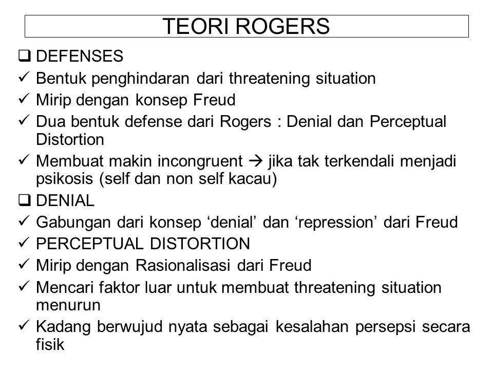 TEORI ROGERS  DEFENSES Bentuk penghindaran dari threatening situation Mirip dengan konsep Freud Dua bentuk defense dari Rogers : Denial dan Perceptua