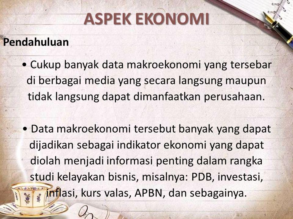 ASPEK EKONOMI Pendahuluan Cukup banyak data makroekonomi yang tersebar di berbagai media yang secara langsung maupun tidak langsung dapat dimanfaatkan