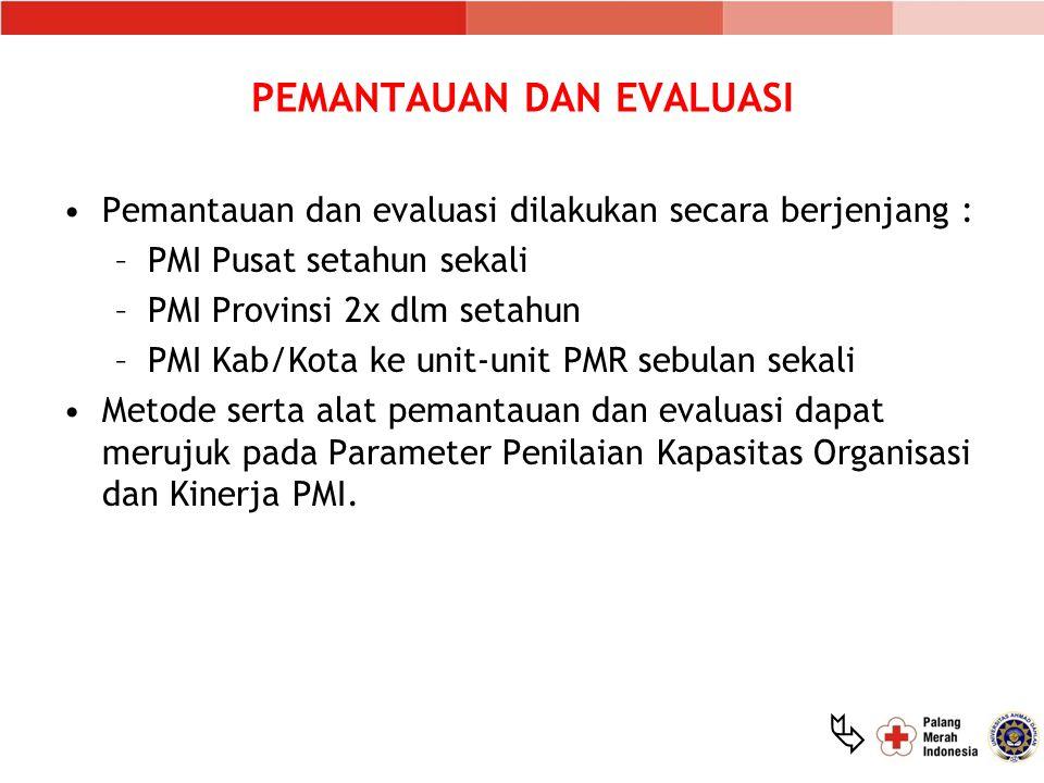  PEMANTAUAN DAN EVALUASI Pemantauan dan evaluasi dilakukan secara berjenjang : –PMI Pusat setahun sekali –PMI Provinsi 2x dlm setahun –PMI Kab/Kota k