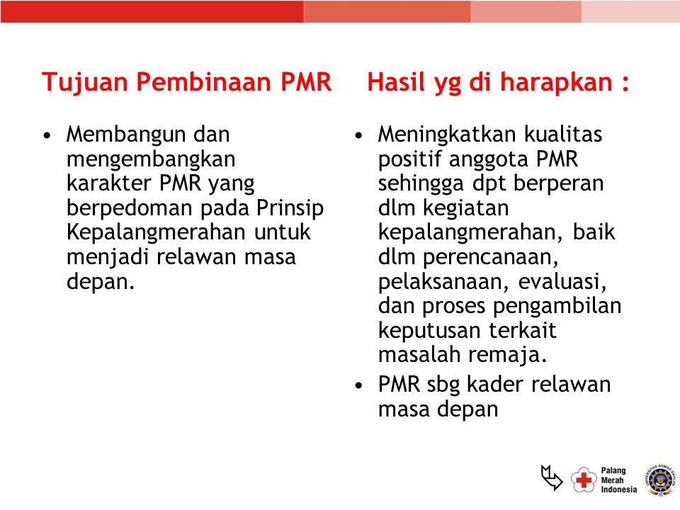  Tujuan Pembinaan PMR Membangun dan mengembangkan karakter PMR yang berpedoman pada Prinsip Kepalangmerahan untuk menjadi relawan masa depan. Meningk