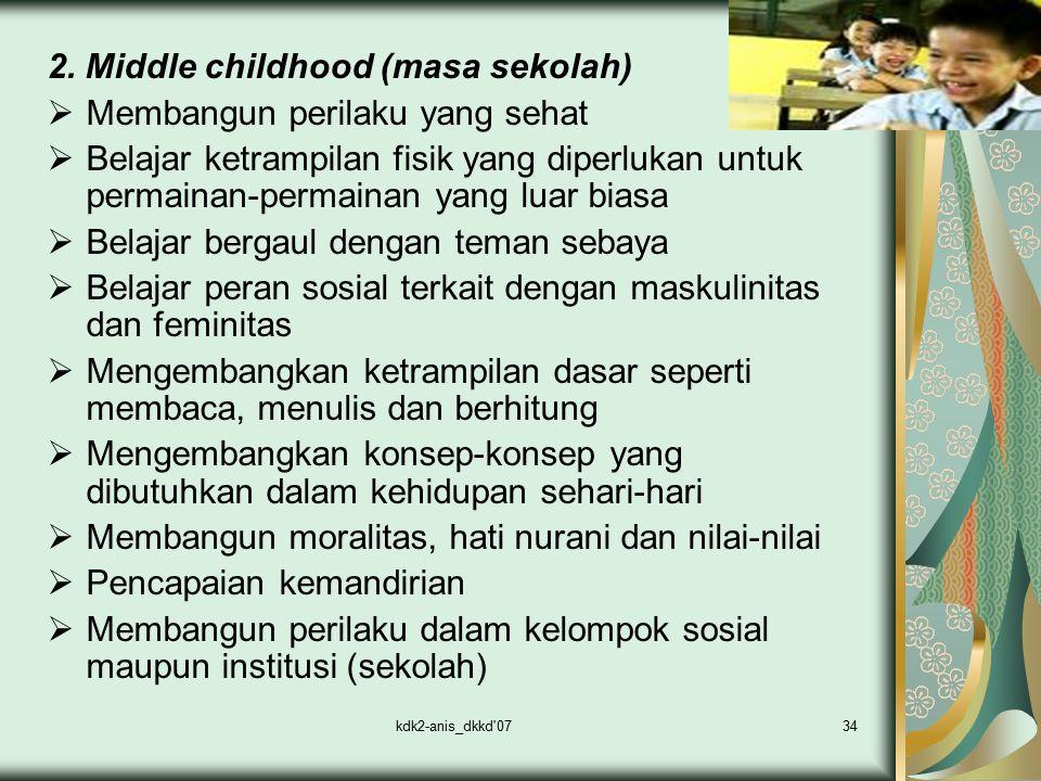 kdk2-anis_dkkd'0734 2. Middle childhood (masa sekolah)  Membangun perilaku yang sehat  Belajar ketrampilan fisik yang diperlukan untuk permainan-per